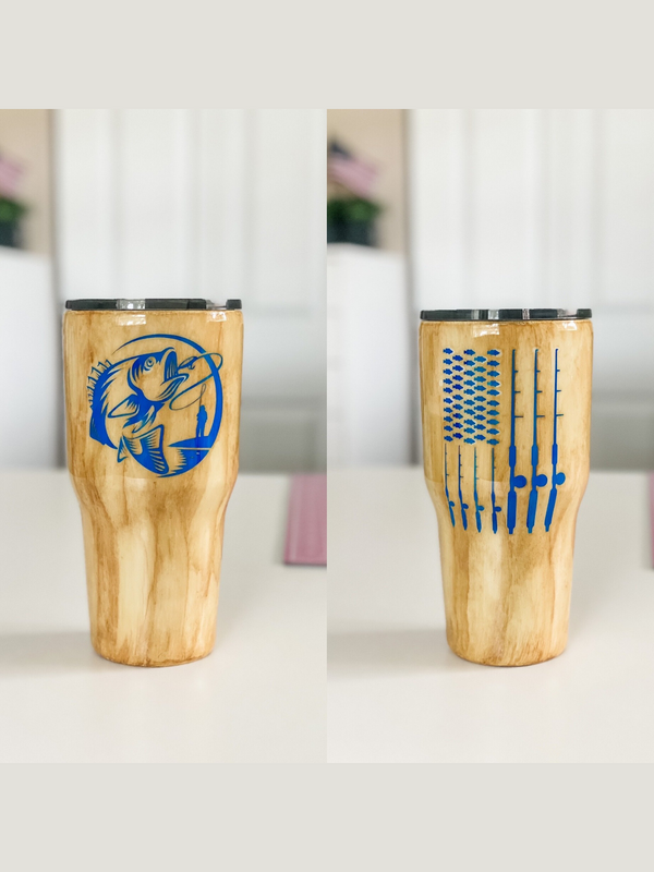Fishing Flag Wood Grain Tumbler