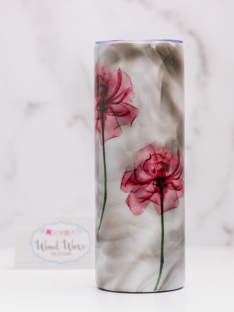 Smoke and Sparkle Flower Tumbler