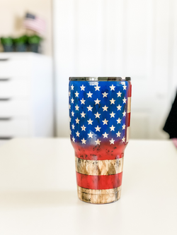 Distressed American Flag Tumbler