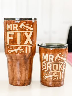 NEW Mr.Broke It / Mr. Fix It Tumbler Set