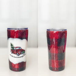 Most Wonderful Time Buffalo Plaid Tumbler