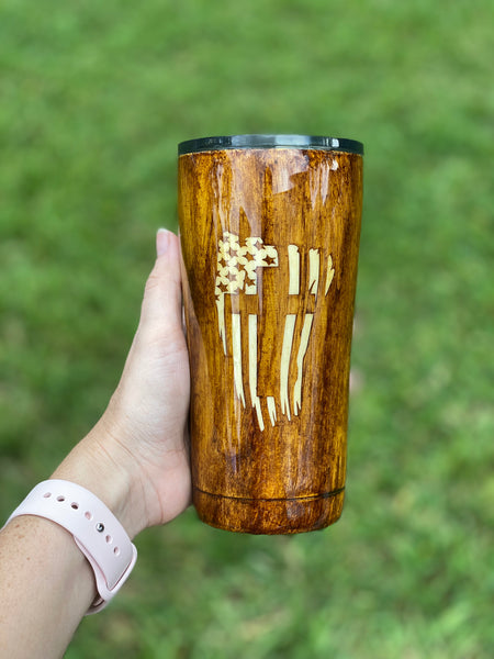 Woodgrain Flag/Cross Stainless Steel Glitter Tumbler