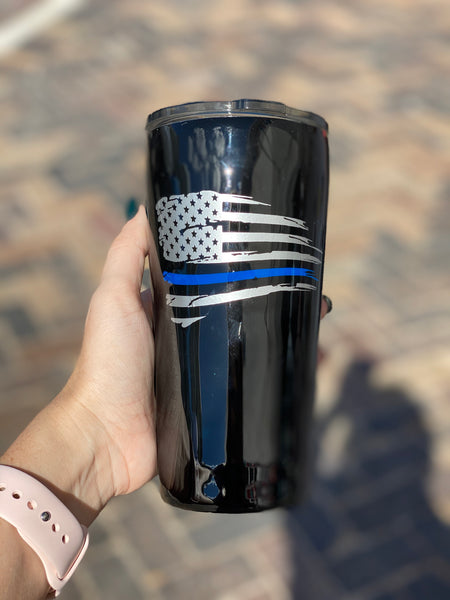 Back the Blue Stainless Steel Glitter Tumbler