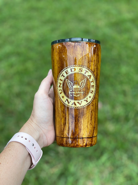Woodgrain US Navy Stainless Steel Glitter Tumbler