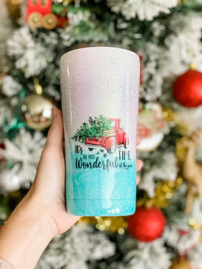 It's the Most Wonderful Time Stainless Steel Glitter Tumbler