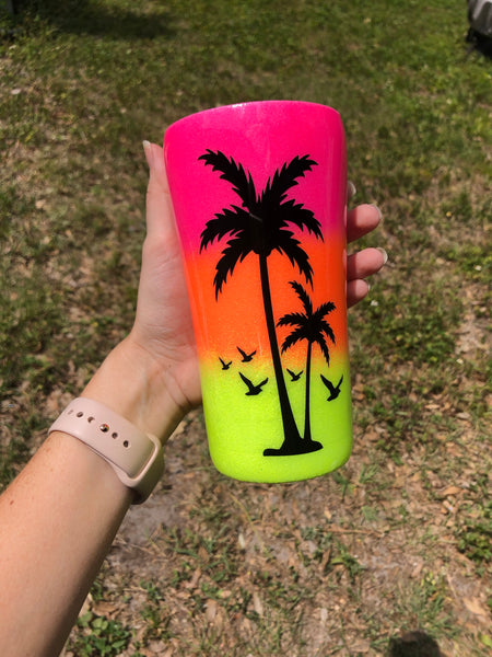 Sunset Stainless Steel Glitter Tumbler