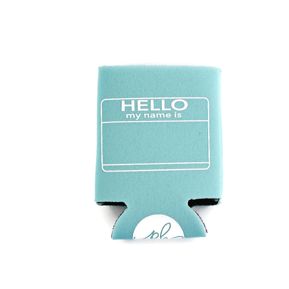 Hello Can Cooler - Turquoise by Paper Berry Press