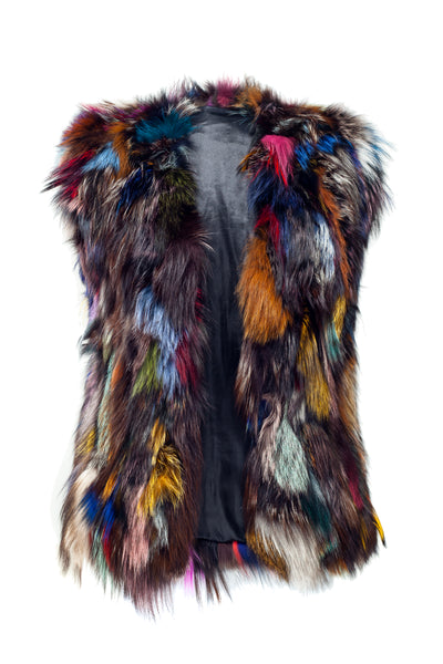 ski jackets, ski pants, luxury skiwear, ski apparel, ski fashion, fur ski apparel, fur trim, Sloan Patchwork Fox Vest, Skea Limited, Skea Limited - Skea Limited