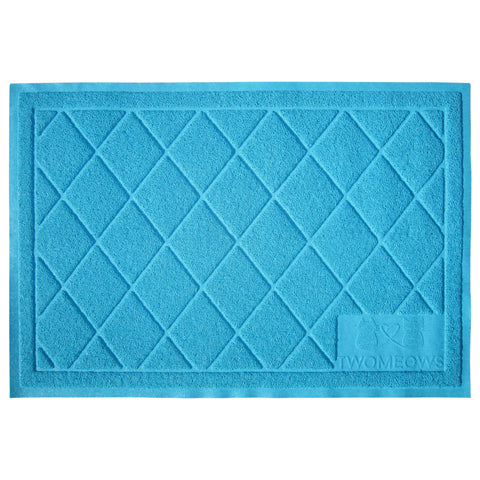 Cat Litter Box Mat - Extra Large - Traps Kitty Litter - Blue - By Two Meows