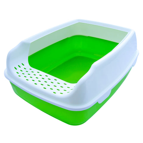 Cat Litter Box - High Sided - Open Top Entry - Green - By Two Meows