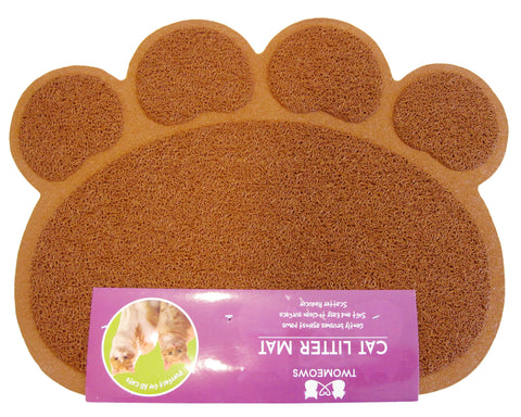 Cat Litter Mat - Traps Kitty Litter Box Mess - Paw Shaped - Brown - By Two Meows