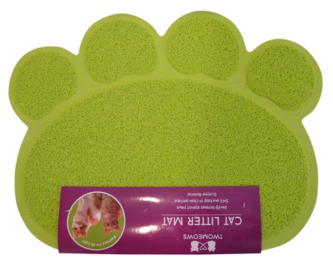 Cat Litter Mat - Traps Kitty Litter Box Mess - Paw Shaped - Green - By Two Meows