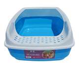 Cat Litter Box - High Sided - Open Top Entry - Anti-Scatter - Blue By Two Meows