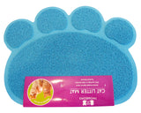 Cat Litter Mat - Traps Kitty Litter Box Mess - Paw Shaped - Blue - By Two Meows