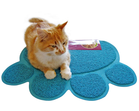 cat litter mat traps kitty litter box mess paw shaped blue by
