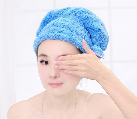 Microfiber Hair Towel Bathroom / Salon Turban Twist - Blue - By Greenwald Brands