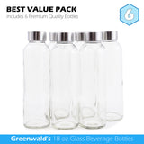 Glass Water Bottle 18 oz (6-Pack) w/Leak Proof Caps BPA Free By Greenwald Brands