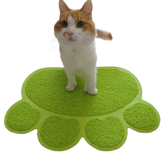 Two Meows Paw Shaped Litter Mat - Green