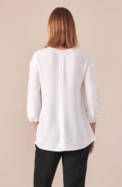 LYSANDRA WHITE CREPE BLOUSE WITH DELICATE LACE INSERTS