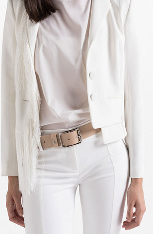 4cm height camel beige leather women's belt. Patrizia Pepe available at our digital Boutique Affairedefemmes.net