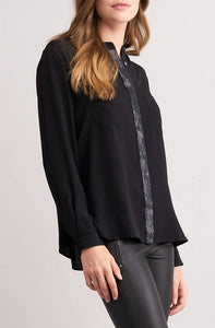 Black blouse | glitter detail | viscose. Repeat Cashmere Women's clothing at our digital Boutique Affairedefemmes.net