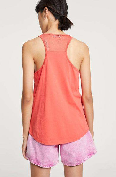 Tanktop with Mesh CLOSED Women's Top. Papaya shade with transparent perfection | Local Same-day-Delivery, International Shipping | affairedefemmes.net