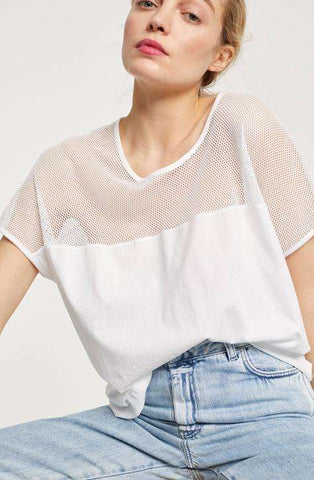White shade with transparent perfection. T-SHIRT WITH MESH CLOSED Women's Top | Local Same-day-Delivery, International Shipping & Easy Returns.