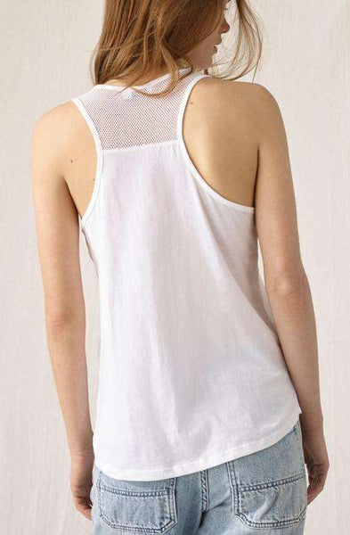 Tanktop with Mesh CLOSED Women's Top. white shade with transparent perfection | Local Same-day-Delivery, International Shipping | affairedefemmes.net