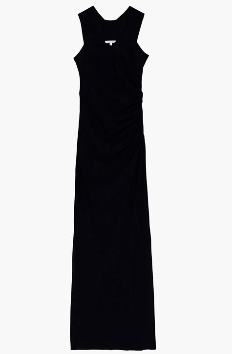 Long Black dress with gathering on the side for more flattering fit. Patrizia Pepe available at our digital boutique Affairedefemmes.net