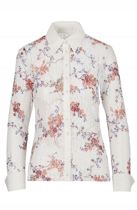 LAEMI UNLINED FLORAL LACE SHIRT WITH FRENCH CUFFS