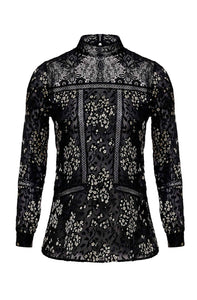 LALI €350.00 BLACK AND WHITE SUBLIMINAL PRINT FLORAL BLOUSE WITH LACE DETAILS