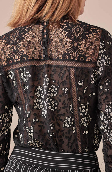 LALI  BLACK AND WHITE SUBLIMINAL PRINT FLORAL BLOUSE WITH LACE DETAILS