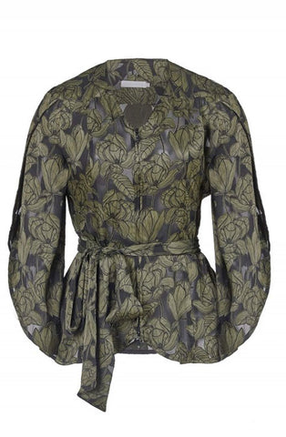 LASZLO GREEN FLORAL BLOUSE WITH PETAL SLEEVES