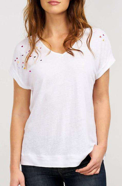 Repeat White Embroidered Heart Pattern Shirt