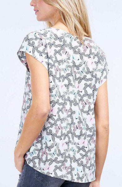 Silk Blouse Butterfly Print by Repeat