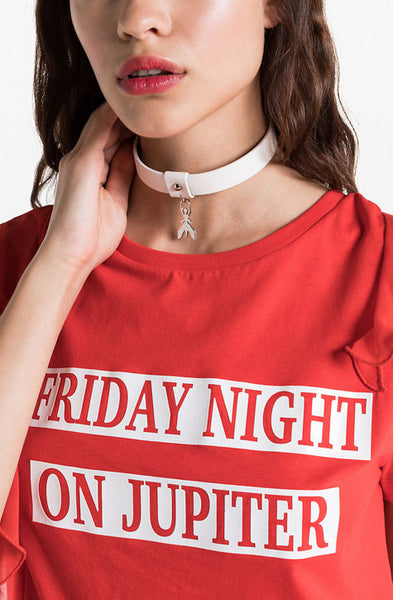 Red t-shirt with shiny print  ' Friday night on Jupiter' and flocked print on the back 'mercury, Neptune, Jupiter, Saturn,venus,mars.. Patrizia Pepe available at our digital Boutique Affairedefemmes.net