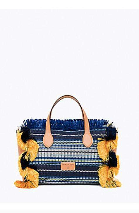 Patrizia Pepe Handbag. Blue hues  with yellow details. Will you be wearing a statement bag this season? ! With this BAG you don't think twice | Patrizia Pepe Bag's | Online Boutique Affairedefemmes.net | FRee styling advice