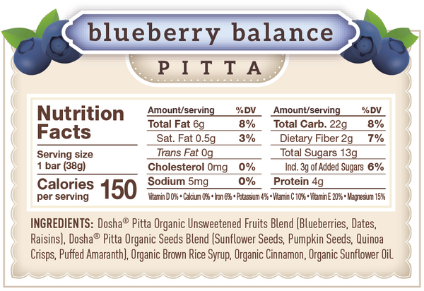 This is the nutritional panel or information for Blueberry Balance Dosha Bar, which balances pitta dosha.  As you can see, it's made of organic, unsweetened fruit and seeds, just 150 calories and has only 3g of added sugar (organic brown rice syrup) along with protein and fiber.