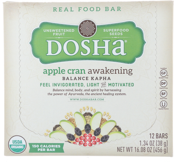 Apple Cran Awakening Dosha Bar is a Delicious Unsweetened Fruit & Seed Bar made with no preservatives, flavorings, or powders from a lab.  One box contains 12 Bars.  These bars are made with ingredient combinations that balance kapha dosha, which is represented by earth and water.