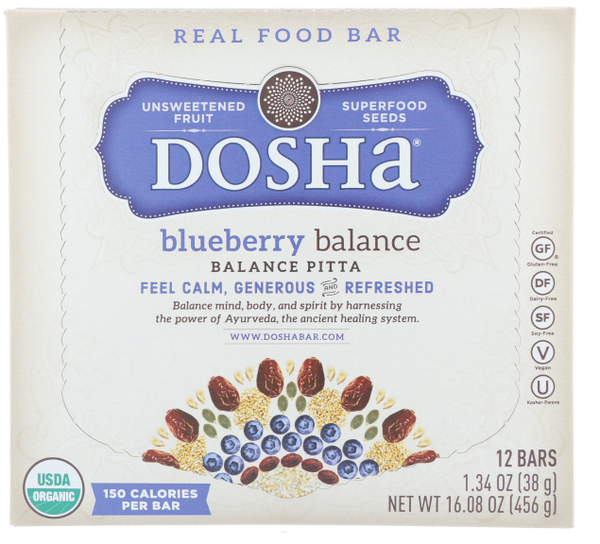 Blueberry Balance Dosha Bar is a Delicious, Organic Unsweetened Fruit & Seed Bar made with no preservatives, flavorings, or powders from a lab.  This single bar has 150 calories and only 3g of added organic syrup.  These bars are made with ingredient combinations that balance pitta dosha, which is represented by fire and water.