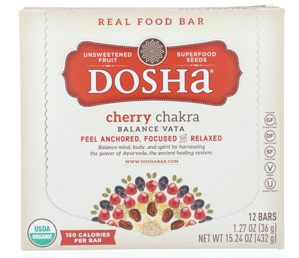 Cherry Chakra Dosha Bar is a Delicious, Organic Unsweetened Fruit & Seed Bar made with no preservatives, flavorings, or powders from a lab.  This single bar has 150 calories and only 3g of added organic syrup.  These bars are made with ingredient combinations that balance vata dosha, which is represented by air and space.