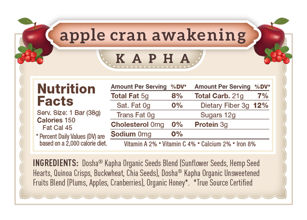 Nutritional Facts & Ingredients for Dosha Bar Apple Cran Awakening Kapha