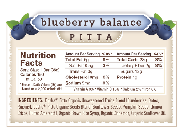 Nutritional Facts & Ingredients for Dosha Bar Blueberry Balance Pitta