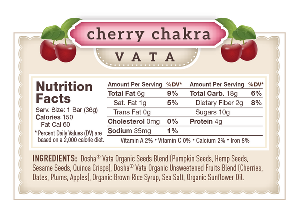 Nutritional Facts & Ingredients for Dosha Bar Cherry Chakra Vata