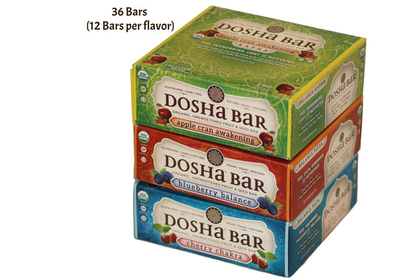 Dosha Bar is a Delicious Unsweetened Fruit & Seed Bar made with no preservatives, flavorings, or powders from a lab.  One box contains 12 Bars.  These bars are made with ingredient combinations that balance pitta dosha, vata dosha, and kapha dosha.
