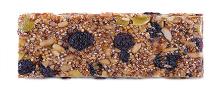 Look at all the organic, unsweetened, dried fruit and seed ingredients in this Blueberry Balance Dosha Bar.  It contains Dosha® Pitta Organic Seeds Blend (Sunflower Seeds, Hemp Seed Hearts, Quinoa Crisps, Buckwheat, Chia Seeds), Dosha® Pitta Organic Unsweetened Fruits Blend (Blueberries, Dates, Raisins), and just 3g of organic, brown rice syrup.