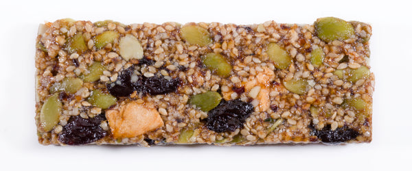 Look at all the organic, unsweetened, dried fruit and seed ingredients in this Cherry Chakra Dosha Bar.  It contains Dosha® Vata Organic Seeds Blend (Pumpkin Seeds, Hemp Seeds, Sesame Seeds, Quinoa Crisps), Dosha® Vata Organic Unsweetened Fruits Blend (Cherries, Dates, Plumes, Apples), and just 3g of organic, brown rice syrup.