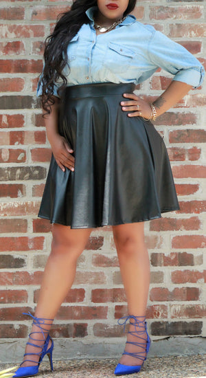 Faux Leather Skater Skirt - ARUZE BOUTIQUE
