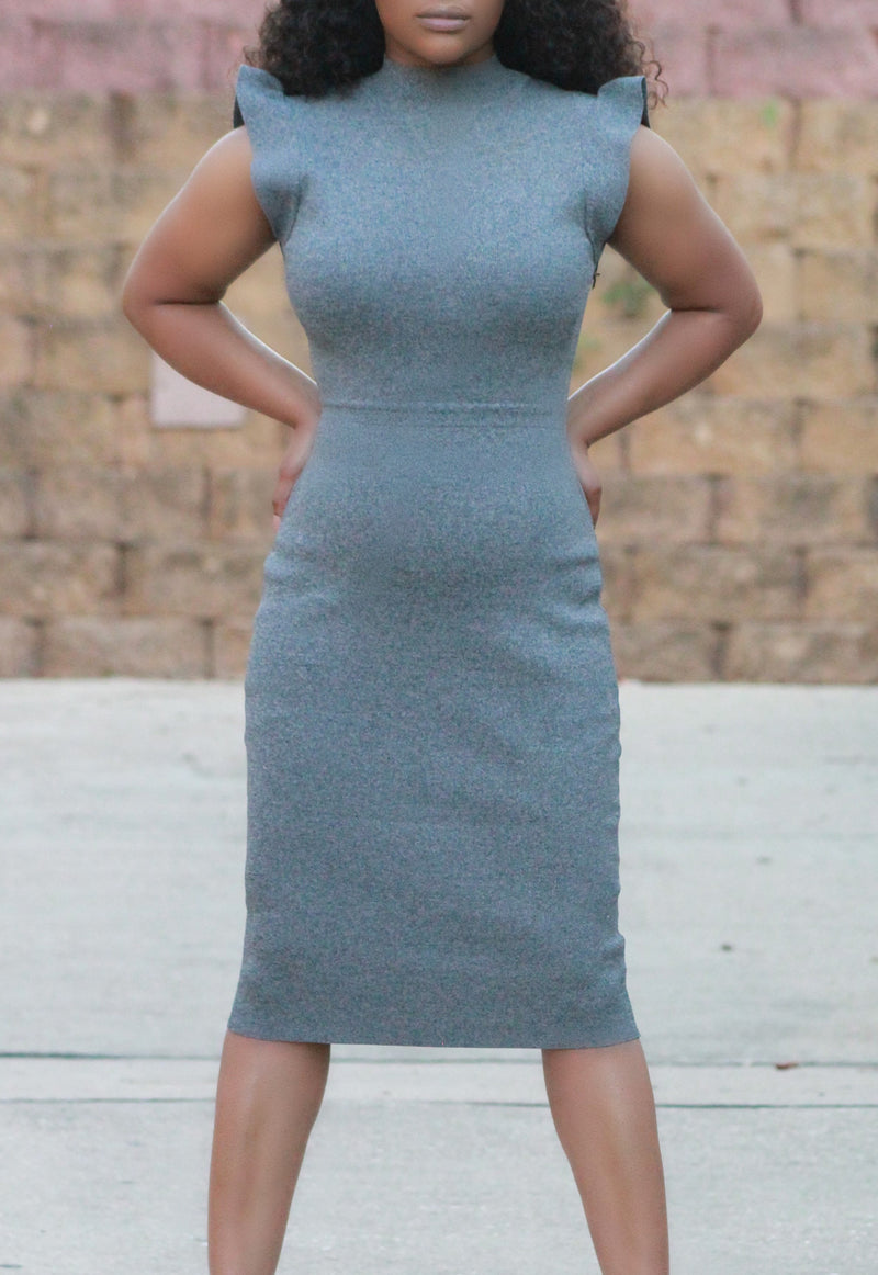 Grey Heather Bodycon Dress - ARUZE BOUTIQUE