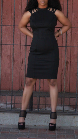 Black Crew Neck Dress - ARUZE BOUTIQUE